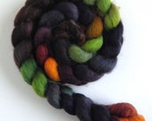 BFL Wool Top (Roving) - Handpainted Spinning or Felting Fiber, Black Orchid