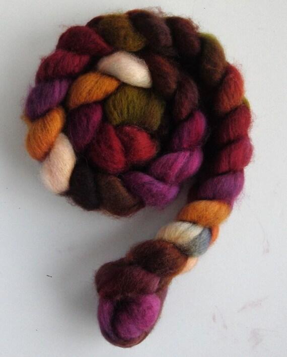 """BFL Wool Top (Roving) - Handpainted Spinning or Felting Fiber, """"Sangria"""""""