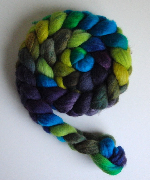 Polwarth/Silk Roving (Top) - Handpainted Spinning or Felting Fiber, Butterfly