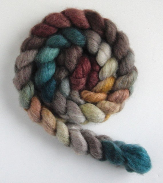 Mixed BFL Wool/ Silk Top (Roving) - Handpainted Spinning or Felting Fiber, 2412-2