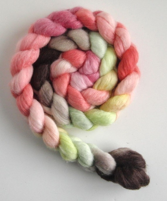 Merino/ Silk Roving (Top) - Handpainted Spinning or Felting Fiber, Flowering Quince