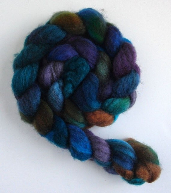 Mixed Blueface Leicester Wool Roving (Top) - Handpainted Spinning or Felting Fiber, Monsoon, 3.8 ounces