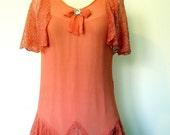 On Sale: 1920s FLAPPER Dress // Coral Silk Chiffon // Lace