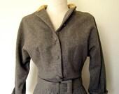 1950s Dress // Heather Gray Pleated Day Dress