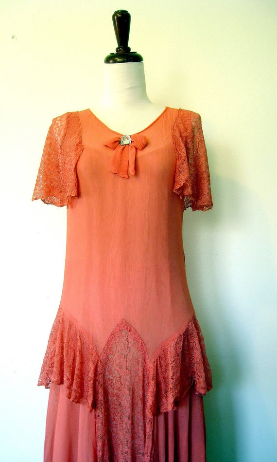 On Sale: 1920s FLAPPER Dress // Coral Silk Chiffon // Lace
