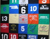 Custom T-Shirt Quilt Featuring 24 or 25 of YOUR T-Shirts (58x58 or 46x70 inches)