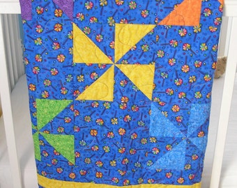 Baby Quilt - Pinwheels in Summer - Drag Around Quilt - ***SALE*** was 75