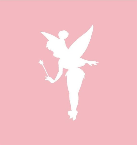 Items similar to tinkerbell silhouette vinyl decal 7x4 for Tinkerbell stencil
