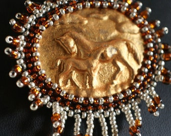 Copper and Gold Horse Cabochon Necklace