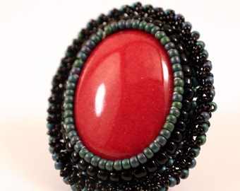 Incredible Red Jasper Cocktail Ring