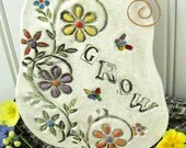 GROW - Simple Soul Stamped Tile Wall Hanging