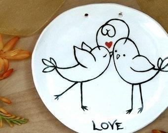 Love Bird Ring Bearer Bowl - Bride & Groom Wedding Ceremony, Anniversary, Vow Renewals - Handmade LoveBird Ceramic Dish, Hanging