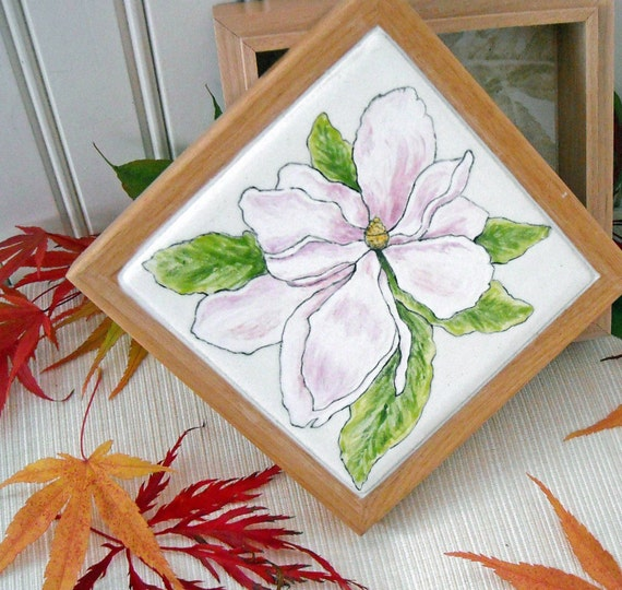 Magnolia Flower Tile & Alder Wood Box - Painted Ceramic Decorative Storage Container for Jewelry, Trinkets, Keepsakes - Charity Donation