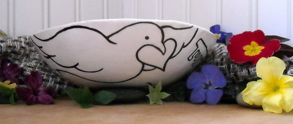 Peace Dove Pottery Bowl - Imagine - Bird, Earth and Keys to Change Handmade & Painted Graphic Design Ceramic Dish - Soup, Salad, Cereal size