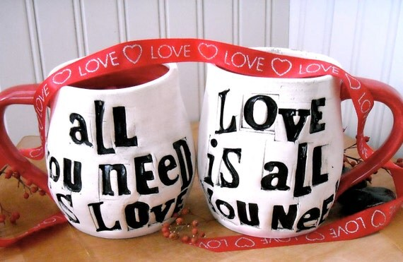 Personalized ALL You Need Is Love Mugs Pair - HandMade TO ORDER Custom Rustic Bride, Groom 8th 9th Wedding Anniversary 2 Coffee Tea Cup Set