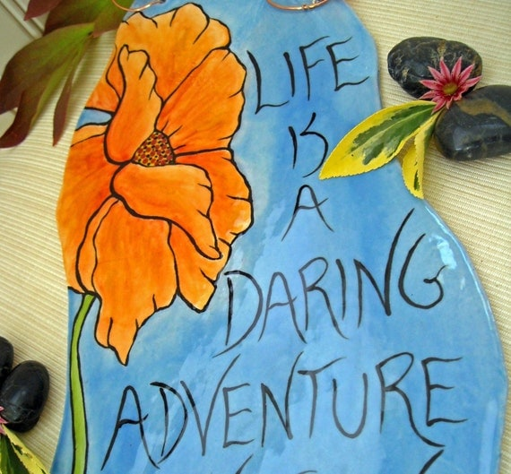 DARING ADVENTURE - Positively Beautiful Painted Tile Wall Hanging