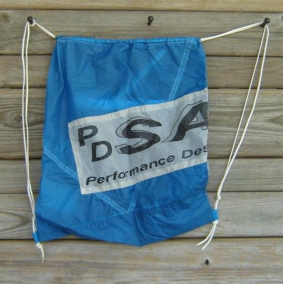Parachute Bag : Marine Blue Sabre Parachute End Panel Drawstring Backpack