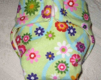 Baby Doll Cloth Diaper/Wipe- Daisy Flowers-Adjustable to Fit Bitty Baby, Baby Alive, Cabbage Patch, American Girl Dolls and More.
