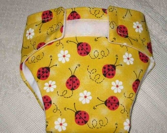 Baby Doll Diaper/Wipe - Yellow Diaper with Pretty Ladybugs-Fits Bitty Baby, Baby Alive, Cabbage Patch  Dolls and More