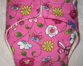Baby Doll Cloth Diaper/Wipe - Pink with White and Yellow Flowers-Fits Bitty Baby, Baby Alive, Cabbage Patch Dolls and More