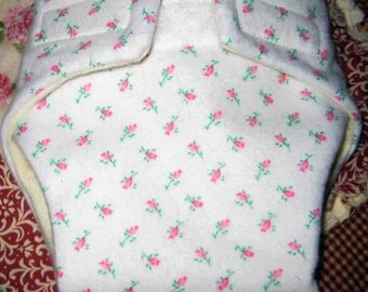 Baby Doll Cloth Diaper/Wipe - White with Pink Baby Roses -Fits Bitty Baby, Baby Alive, Cabbage Patch Dolls and More