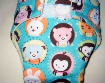 Baby Doll Cloth Diaper/Wipe-Animal Faces- Adjustable to fit Bitty Baby, Baby Alive, Cabbage Patch Dolls and More-