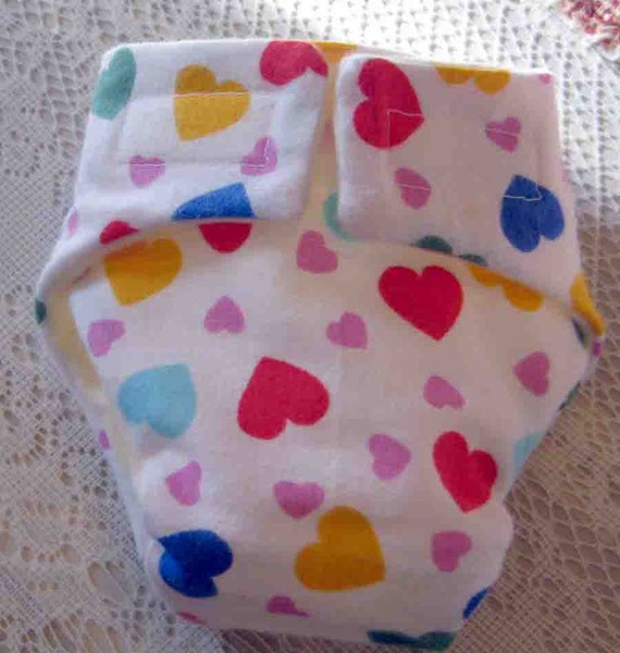 Doll Cloth Diaper-Valentine Hearts-Fits Bitty Baby Alive, Cabbage Patch, American Girl Dolls and More