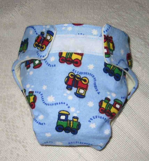 Baby Doll Cloth Diaper - Choo Choo Trains-Adjustable to fit Bitty Baby Alive, Cabbage Patch,American Girl Dolls and More