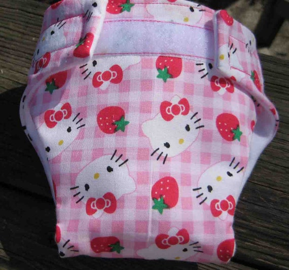 Baby Doll Diaper-Cutie Miss Strawberry Kitty-Adjustable to Fit Bitty Baby Alive, Cabbage Patch Dolls and More