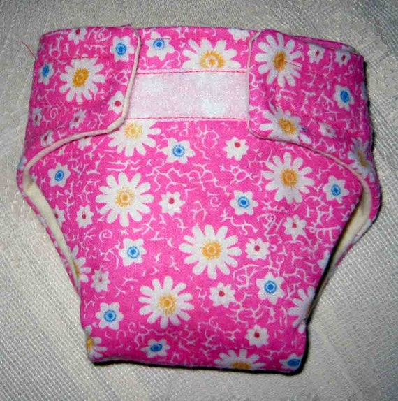 Baby Doll Diaper-Hot Pink Diaper with Pretty Flowers- Adjustable Cloth Fits Bitty Baby Alive, Cabbage Patch Dolls and More