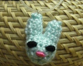 Bunny Rabbit Amigurumi Necklace, mint green with a pink nose