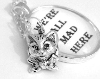 White Rabbit Alice in Wonderland Pendant Necklace Lewis Carroll Quote Follow the White Rabbit