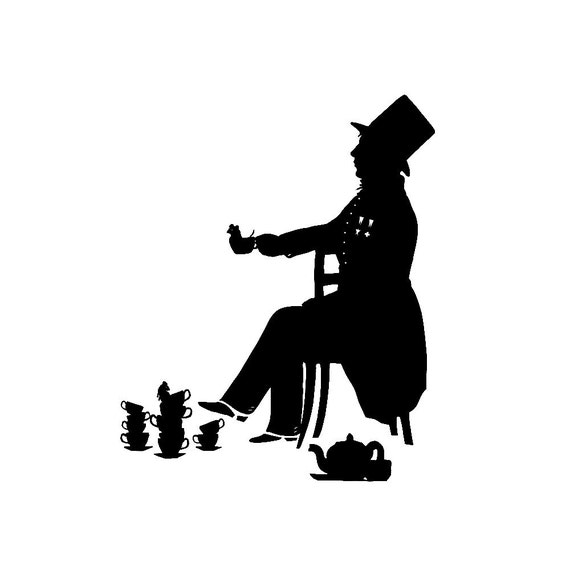 The Mad Hatter Alice In Wonderland Silhouette Print Lewis Carroll Mouse Tea Cup Tea Party