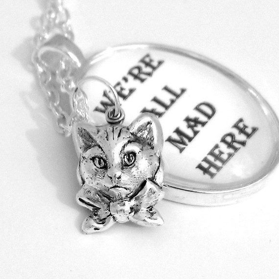 Cheshire Cat Alice In Wonderland Silver Pendant Necklace We're All Mad Here Black and White Grey