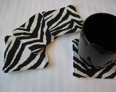 Custom Made Order Set of Fabric Coasters Zebra Stripes