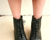 Vintage Black Leather Lace Up Ankle Boots