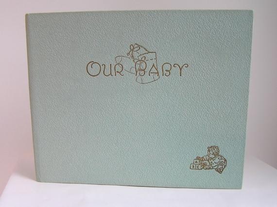 Vintage 1930 Illustrated Baby Record Book Unused Rare