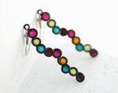 Jewel Tone Bubble Earrings in Sterling Silver, Fall Fashion, Artisan designer jewelry, Eco Friendly....