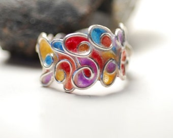 Sterling Silver Statement Ring 'Sedona Sunset', 1st Anniversary Gift Paper Jewelry, Sedona Jewelry, Sculptural Wearable Colorful Jewelry Art