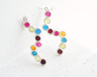 Jewel Tone Earrings, Silver Circle Earrings, Cinco De Mayo Jewelry