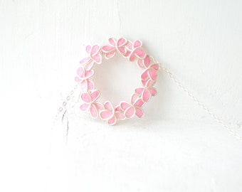 Pastel Pink Forget Me Not Flower Necklace Sterling Silver, 1st Anniversary Paper Jewelry Best Friend Moving Away Long Distance Gift Unique
