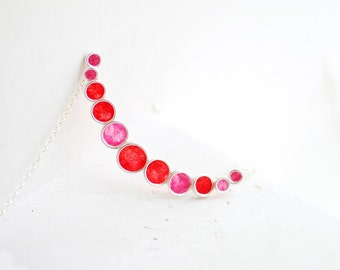 Modern Minimalist Bubble Necklace Red Pink Color Block, 1st Anniversary Gift Paper Jewelry Unique Bridesmaid Gift Minimal Bib Contemporary