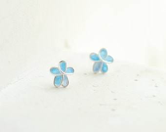 Pastel Aqua Blue Forget Me Not Flower Post Earring 1st Anniversary Gift Paper Jewelry Best Friend Long Distance Relationship Gift