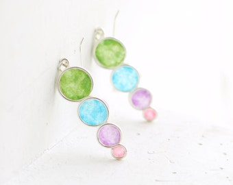 Watercolor Bubble Dangle Earrings Sterling Silver, 1st Anniversary Gift Paper Jewelry Pastel Circle Minimal Minimalist Earrings Color Block