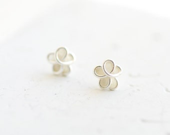 5mm White Forget Me Not Post Stud Earrings Sterling Silver 1st Anniversary Gift Paper Jewelry Miscarriage Memorial Best Friend Long Distance