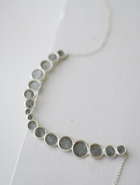 Minimalist Slate Dove Gray Bubble Necklace Sterling Silver, 1st Anniversary Gift Paper Jewelry Unique Statement Necklace Pebble Circle Art