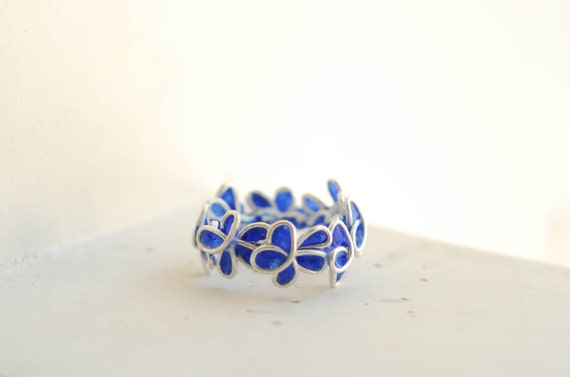 Forget Me Not Flower Ring, 1st Anniversary Gift Paper Jewelry Royal Sapphire Blue Ring, Memorial Miscarriage Ring Memory Ring Midnight Blue
