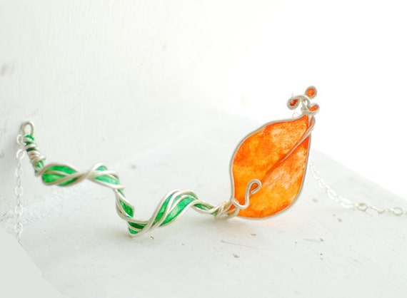 Orange Calla Lily Necklace Sterling Silver, Handmade Artisan Paper Jewelry...