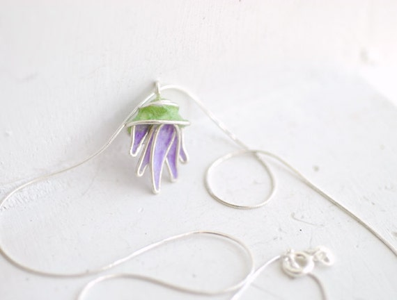 Thistle Flower Pendant Necklace, 4th 1st Anniverary Gift Paper Jewelry Scotland Scottish Bridesmaid Grandma Aunt Pastel Lavender Jade Unique