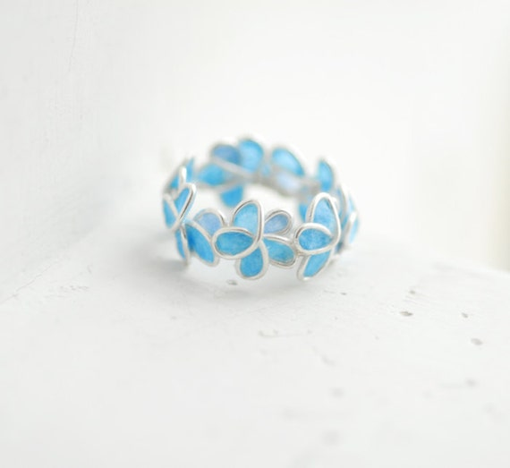 RESERVED.....Pale Blue Forget Me Not Flower Ring, Wedding Anniversary Sterling Silver Artisan Eco Friendly Paper Jewelry...